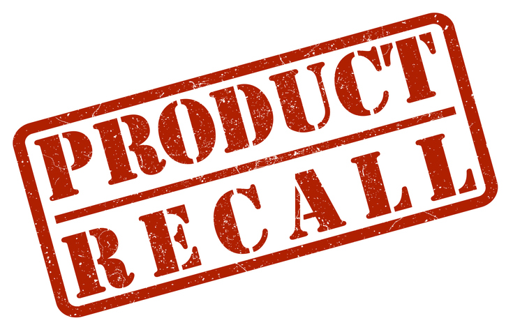 red product recall rubber stamp print on white background vector illustration